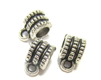 25 Bead hangers antique silver charm hangers 6mm x 10mm x 7mm silver bail beads B.U 4141-M2