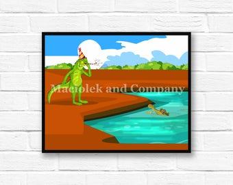 Iguana, Alligator, Children's Book Art, Wall Art, Nursery Room Art, instant download, digital print, digital art, 8x10