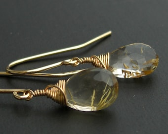 Quartz Earrings gold-plated gold pierced earrings, golden rutile quartz, faceted drops, made to order