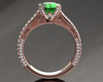 Vintage Style Emerald Ring 1.50 Carat Emerald And Diamond Ring In 14k or 18k Rose Gold. Matching Wedding Band Available SW9GBR