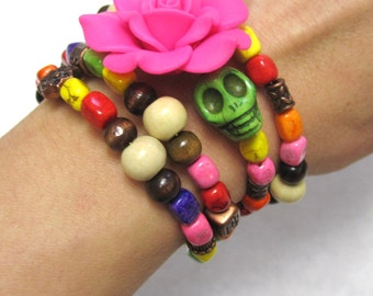 Sugar Skull Bracelet Day of the Dead Jewelry Chunky Stone Pink Rose Cuff