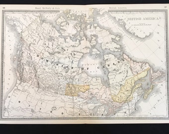 Vintage large world map etsy rare 1887 map of the dominion of canada original 14x21 color map large antique gumiabroncs Image collections