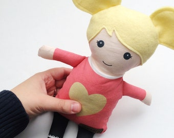 Fabric Doll - Pink + Gold Heart Tunic | Baby Doll | Cloth Rag Doll