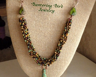 Brown and Green Seed Beaded Necklace with Unique Ceramic Pod Pendant, Woodland Leather Necklace, Unusual Mother's Day Gift, Beaded Jewelry