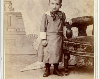 Classic boy in a dress cabinet card.