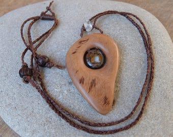 Boulder Opal, Quartz crystal & Eucalyptus wood necklace - unique womb jewelry of NaturesArtMelbourne - adjustable lenght