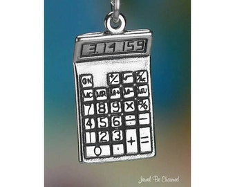 Sterling Silver Calculator Charm Pi Student Math Teacher Solid .925