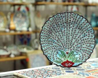 Iznik Design Handmade Ceramic Plate - Diameter : 30cm/12''