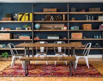 Harvest Wood Shelving Unit, Custom Reclaimed Storage/Shelving, Urban Wood Bookcase.  Choose size and wood finish.