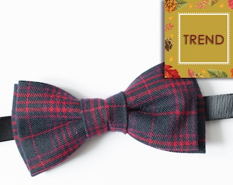 Anniversary gift Navy Blue Red Plaid Wool bow tie Gift for him Mens bow tie Bow tie for men Boyfriend gift Birthday gift Christmas gift