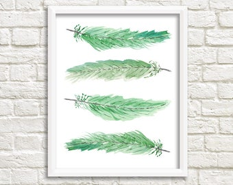 """Green Feathers Wall Art, Instant Download, Green Wall Art Printable, Wall Art, Green Home Decor, Green Home Decor, Wall Art, 8 x 10"""""""