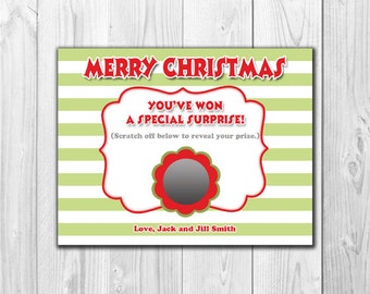 Christmas Pregnancy Announcement | Scratch Off Card (4 Cards and 4 Envelopes)