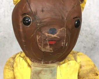 Vintage and very unusual oilcloth teddy bear in superhero suit
