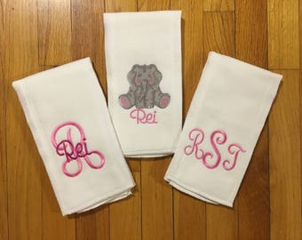 Personalized Burp Cloths/Monogram Burp Cloth/Set of 3 Burp Cloths for Baby Boy or Baby Girl/Elephant Burp Cloths/Personalized Baby Item