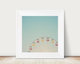 ferris wheel photograph, California photograph, nursery decor, Carnival print, large wall art, ferris wheel print