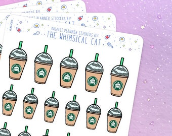 Frappe Stickers, Kawaii Coffee Stickers, Iced Coffee Stickers, Frappuccino Planner Stickers,  Frappuccino Stickers (YUM004)
