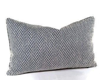 SALE! Navy & White Woven Herringbone Lumbar Pillow Cover, One of a Kind, Throw pillow, Accent Pillow, 12x20