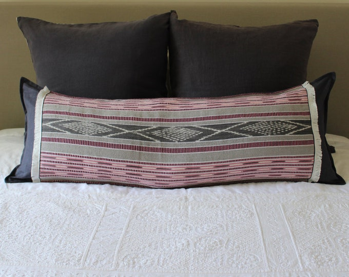Long Pillow featuring Guatemalan Grey & Pink Ikat with Eco Friendly Linen and White Fringe