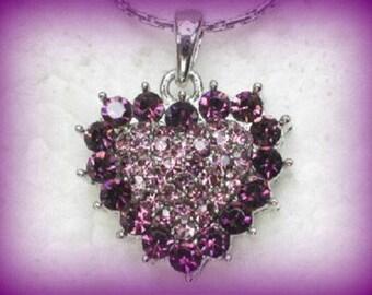 50% SALE Valentines Day Gift For Her..Valentine Gift For Her..Valentine Necklace.Valentines Necklace.Valentine's Gift. Purple Heart Necklace