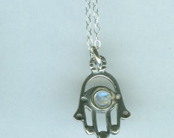Sterling Hamsa Pendant and Chain with Moonstone - Evil Eye Protection