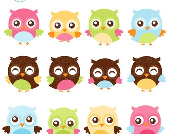 Cute Owls Clipart Set - clip art set of owls, pastel owls, happy owls, whimsical - personal use, small commercial use, instant download