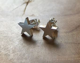 Star Studs - earstuds two stars - silvertone - rock, minimal, trendy, star, stainless steel, earrings, studs, stars, fashion