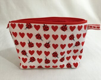 Valentine Heart and Ladybug Zipper Cosmetic, Makeup, Gadget, Toiletry, Clutch Bag
