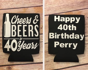 PERSONALIZED 40Th Birthday Can or Bottle Hugger