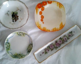 Handpainted Vintage Dishes - Trinket Dishes - Rint Holders