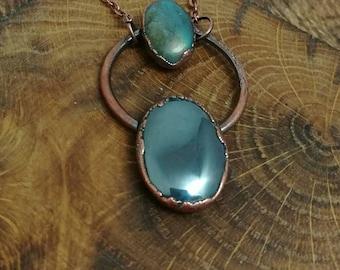 Black hematite and labradorite copper electroformed pendant on long copper chain