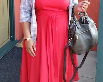 CUSTOM Apron Dress, sample of red cotton gauze, Sun Dress Halter Dress