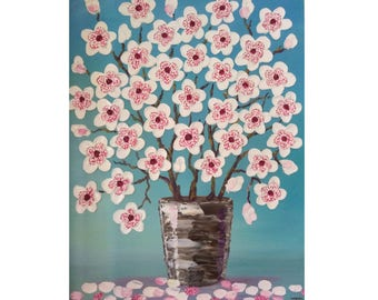 """Magnolia Flowers in a vase Original oil impasto painting Cepia on Stretched  Canvas  size 18"""" X 24""""  No.04-58 READY TO SHIP"""
