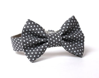 Dog Bowtie, Bow tie Dog Collar- Grey and White Dots