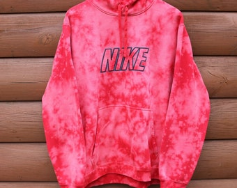 Nike Hoodie Hand Bleached Red Spellout Sweatshirt XL