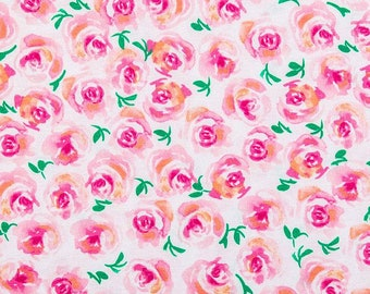 Rose knit fabric Floral fabric fabric by the yard knit fabric pink floral fabric jersey knit fabric knit fabric by the yard rose flowers