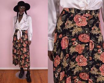 90s Button Down High Waisted Floral Print Skirt/ 28 Waist/ 1990s