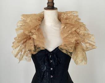 Gold lace Opera shrug, lace neck ruff, circus ruff, Gothic Burlesque costume.