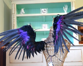 Feather Wings Adult Costume Faerie Black and Purple Made to Order!