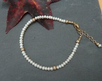 Pearl Stacking Bracelet, White Pearl Bracelet, Pearl Layering Bracelet, Gold Layering Jewelry, Gold Filled Bracelet, June Birthstone Gift