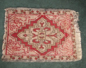 Vintage Small 16 1/2x23 Hand Woven Red and Brown Wool Accent Rug as found