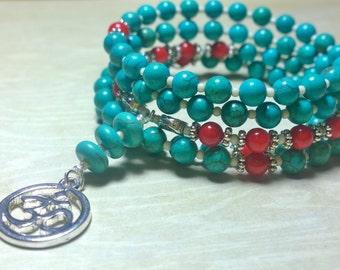 108 Mala Beads - Turquoise Howlite & Coral Wrist Mala - Mala Bracelet, Meditation Beads, Yoga Beads, Prayer Beads, 108 Mala, Ohm Om Symbol