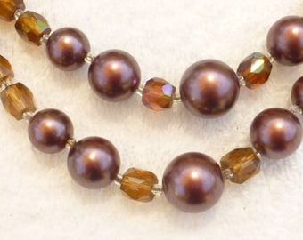 Maroon Glass Pearls and Faceted Glass Beads Double Strand Necklace Set Japan