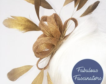 Gold Fascinator Hair Comb, Clip or Hairband, small and simple, wedding fascinator, other colours available