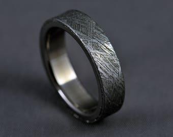Meteorite, titanium wedding ring, engagement ring, Gibeon meteorite ring