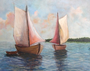 2008 Oil Painting Seascape Sailboats Signed