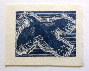 linocut - HEIGHTS // 8x10 art print // printmaking // block print // blue bird // nature art // original art // birds // animal print