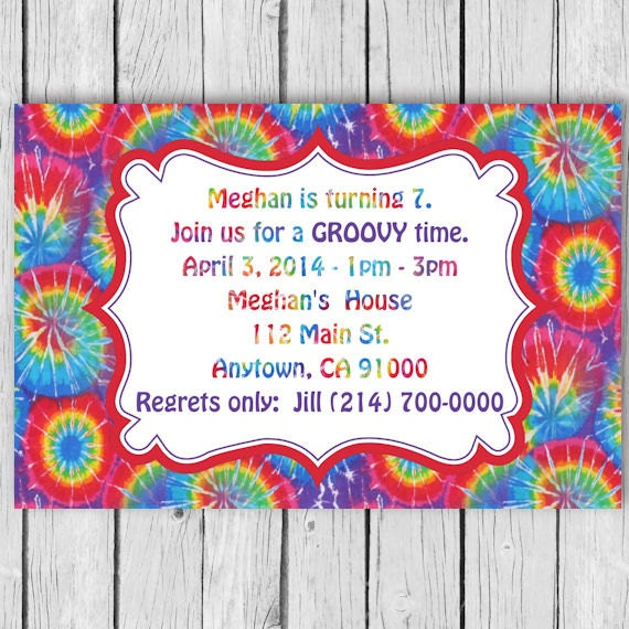 tie dye birthday invitation tie dye invitation tie dye birthday party tie dye invites tie dye invitations tie dye party tie dye
