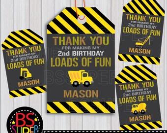 Construction Party Favor Tags, Construction Birthday Favor Tags, Construction Thank You Tags