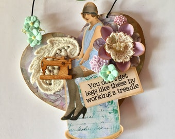 Vintage style collage wall art for her