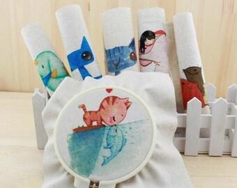 1 PCS, Cute Cat Animal Pattern Printed Linen Cotton Fabric Piece, 20cm x 20cm / 8 inch x 8 inch, R10, #129